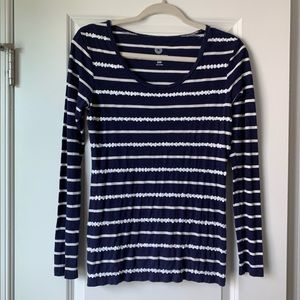 OLD NAVY Navy Blue Striped Shirt with sequins